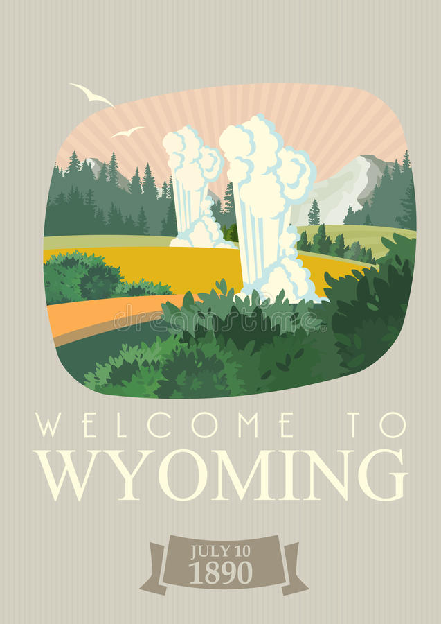 Wyoming vector american poster. Vintage style. Cheyenne. USA travel illustration. United States of America colorful greeting card. stock illustration