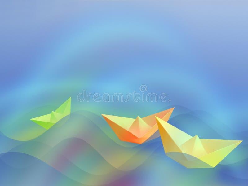 wypływa trzy razem łodzi ilustracja wektor