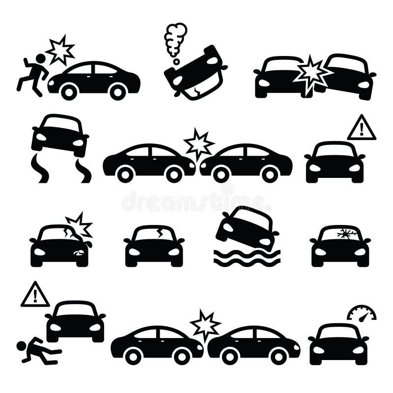 Wypadek drogowy, kraksa samochodowa, obrażenia ciała ikony ustawiać ilustracja wektor