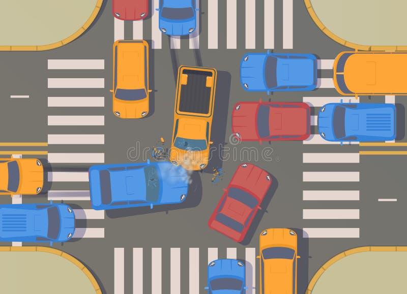 Wypadek drogowy między dwa samochodami z zmiętymi skrzydłami, zderzaki, łamający okno i międlenie, ilustracja wektor