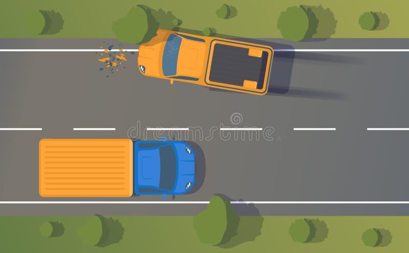 Wypadek drogowy na drodze między samochodami i drzewa z zmiętymi skrzydłami, zderzaki, łamający okno i międlenie, I dymienie ilustracja wektor