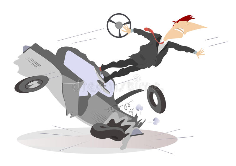 Wypadek drogowy odizolowywający royalty ilustracja