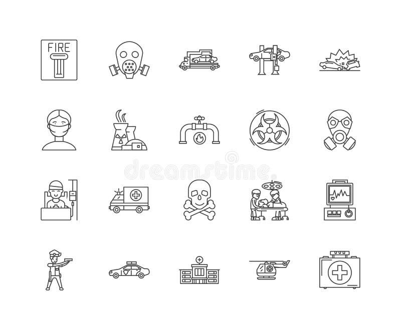 Wypadek kreskowe ikony, liniowi znaki, wektoru set, konturu pojęcia ilustracja ilustracja wektor