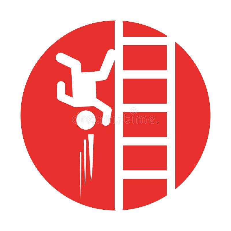 Wypadek na drabinowej asekuracyjnej ikonie ilustracja wektor