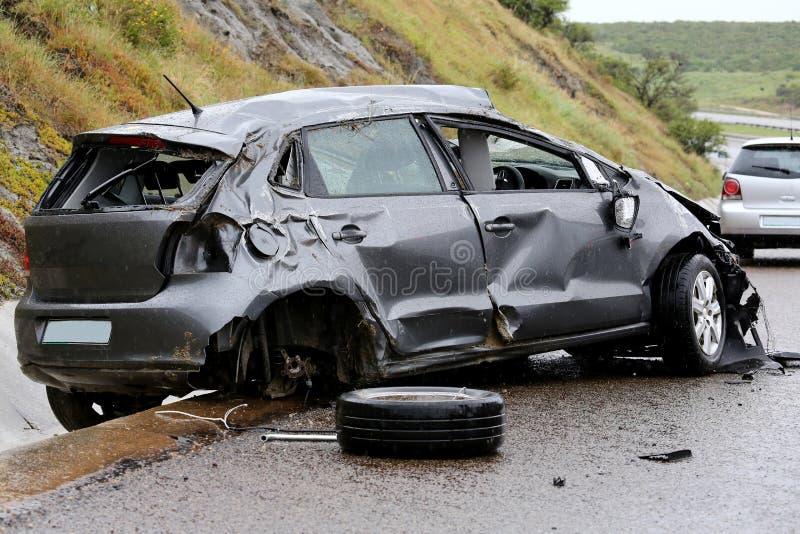 Wypadek Samochodowy i szczątki obrazy royalty free