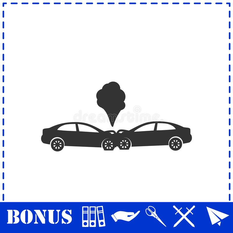 Wypadek samochodowy ikony mieszkanie royalty ilustracja