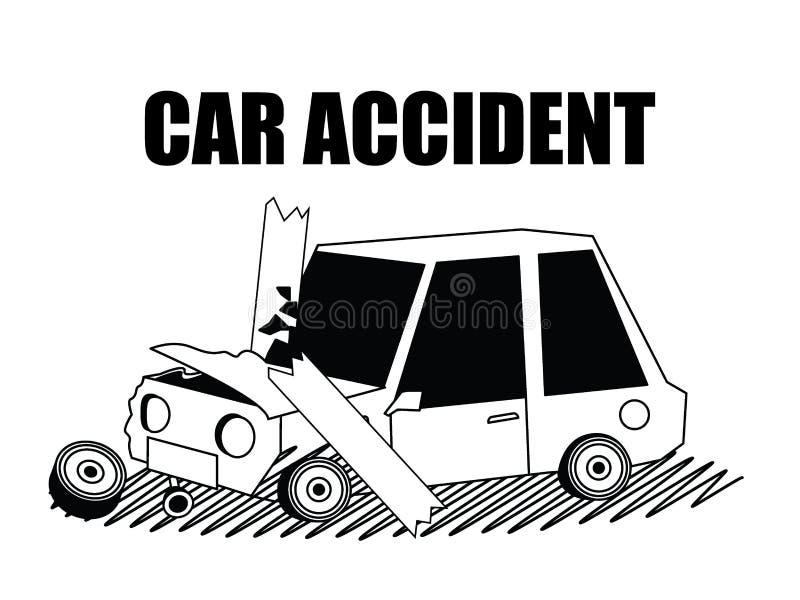 Wypadek samochodowy sylwetka odizolowywa pojęcie
