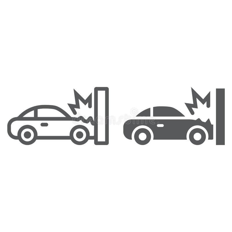 Wypadek uliczny linia, glif ikona, katastrofa i samochód, kraksa samochodowa znak, wektorowe grafika, liniowy wzór na bielu ilustracji