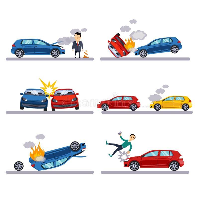 Wypadki samochodowi ustawiający na bielu ilustracji