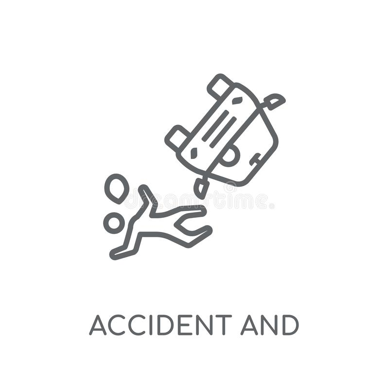 wypadku i urazów liniowa ikona Nowożytny konturu wypadek, ja i ilustracja wektor