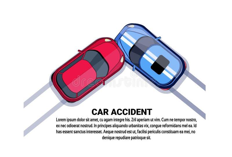 Wypadku Samochodowego karambolu Odgórnego kąta widok Nad Białym tłem Z kopii przestrzenią royalty ilustracja