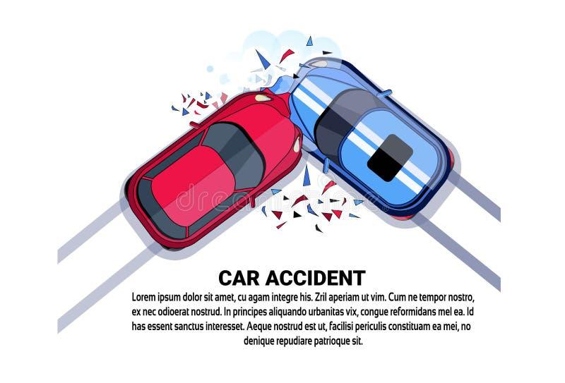 Wypadku Samochodowego Odgórnego widoku pojazdu karambolu ikona Nad Białym tłem Z kopii przestrzenią ilustracja wektor