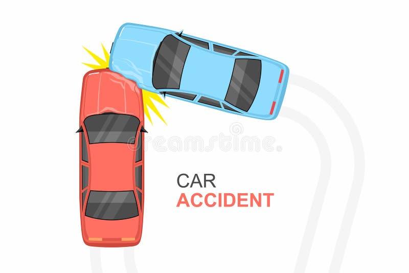 Wypadku Samochodowego Odgórny widok ilustracja wektor