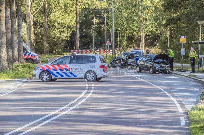 Wypadku Samochodowego Rozenburglaan ulica Przy Duivendrecht holandie 2018 zdjęcie royalty free