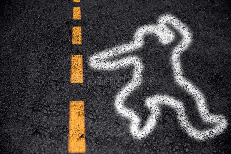 Wypadku samochodowego znak ciało kiści farba zdjęcie stock