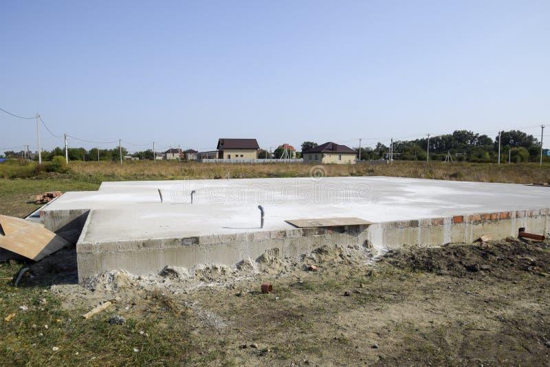 Wypełniająca podstawa podłoga i dom Domowa budowa zdjęcie stock