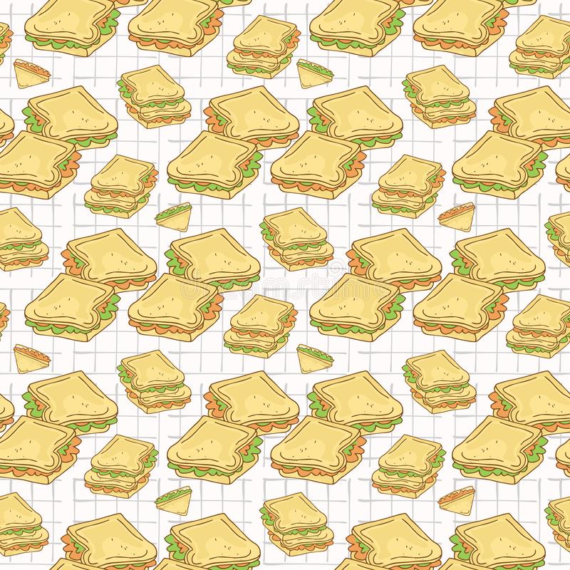 Wypełniający Chlebowych plasterków wektoru Bezszwowy wzór, ręka Rysująca ilustracji