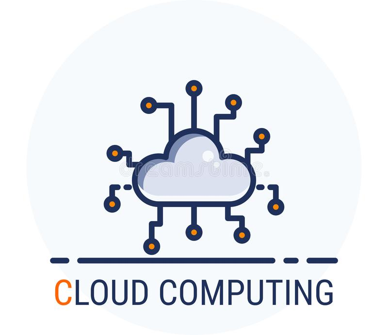 Wypełniający Kreskowy ikona styl Hackera Cyber przestępstwa atak Cloud Computing dla sieć projekta, ui, ux, mobilna sieć, reklamy ilustracji
