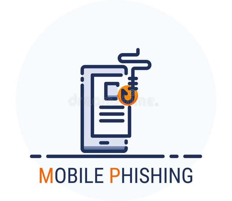 Wypełniający Kreskowy ikona styl Hackera Cyber przestępstwa atak Mobilny Phishing dla sieć projekta, ui, ux, mobilna sieć, reklam royalty ilustracja