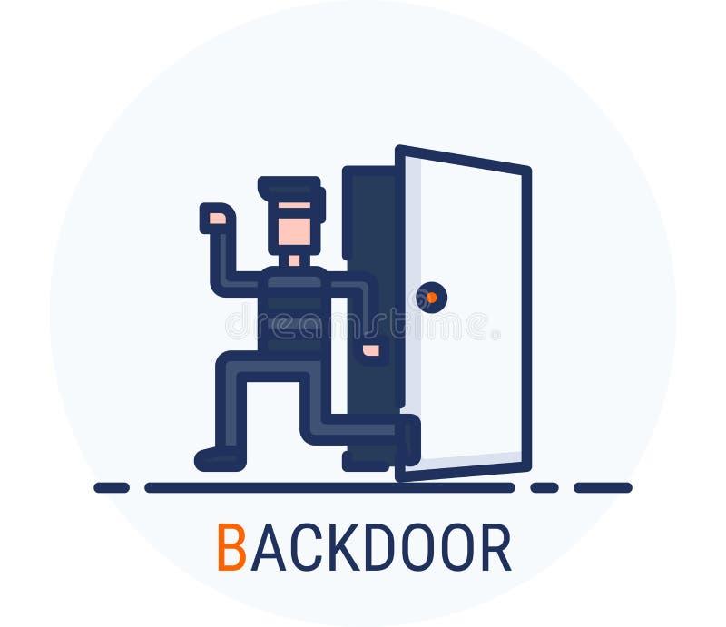 Wypełniający Kreskowy ikona styl Hackera Cyber przestępstwa atak Tylnymi drzwiami dla sieć projekta, ui, ux, mobilna sieć, reklam ilustracja wektor