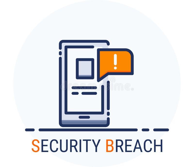 Wypełniający Kreskowy ikona styl Hackera Cyber przestępstwa ataka naruszenie bezpieczeństwa dla sieć projekta, ui, ux, mobilna si ilustracji