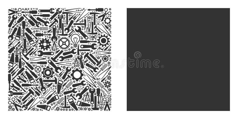 Wypełniający Kwadratowy skład Remontowi narzędzia ilustracja wektor
