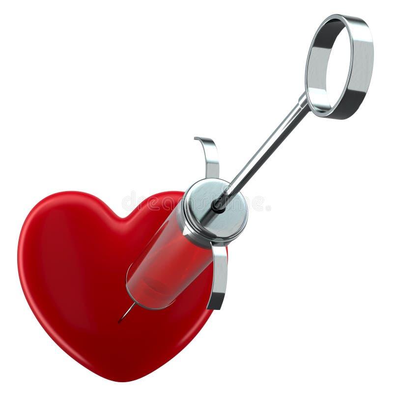 Wypełniający strzykawki i czerwieni serce ilustracja wektor
