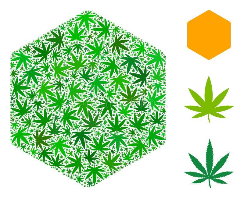 Wypełniający sześciokąta skład marihuana ilustracja wektor