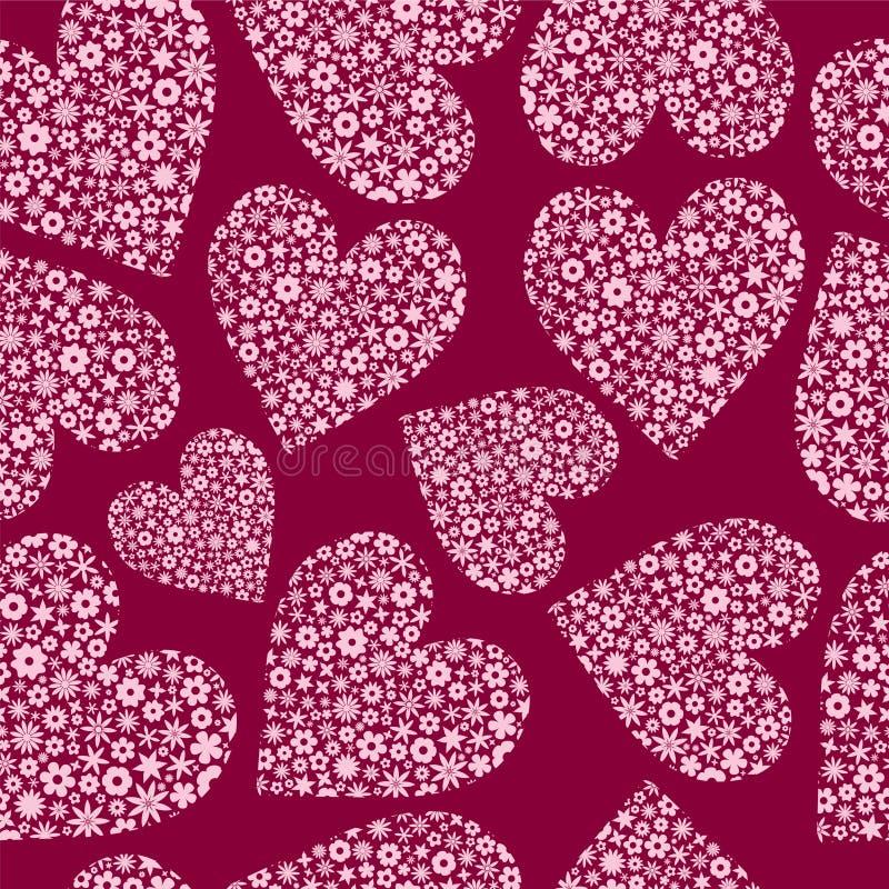 wypełniona serc bezszwowa płytkich kwiatów ilustracja wektor