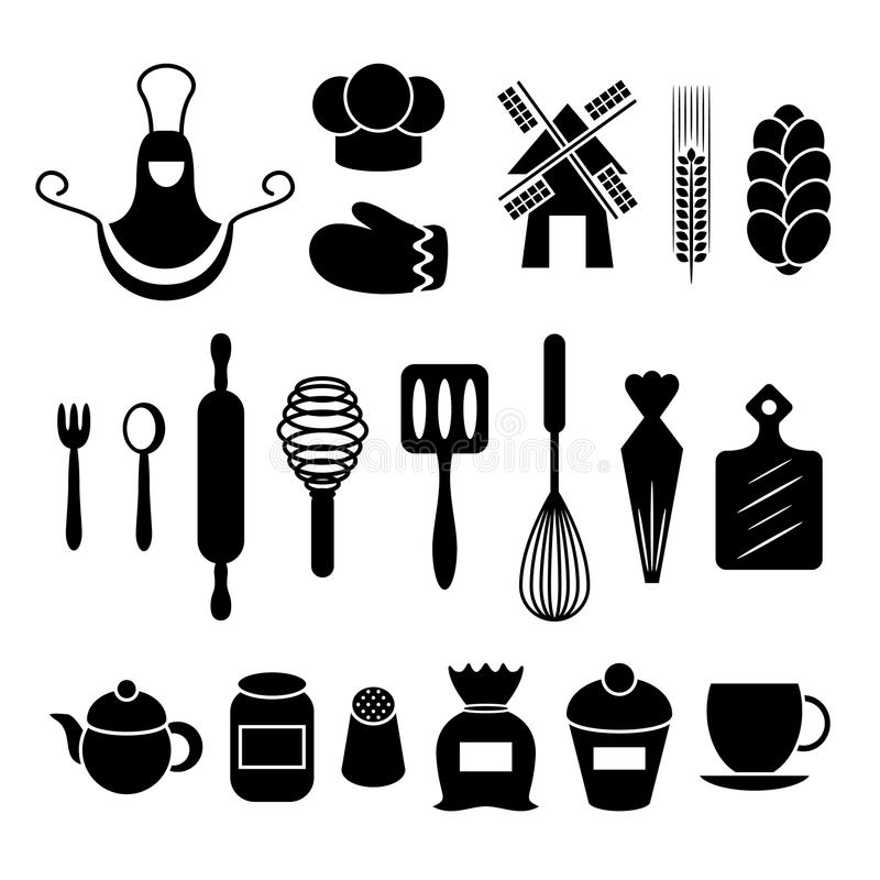 Wypiekowa kuchnia wytłacza wzory sylwetki ustawiać ilustracji