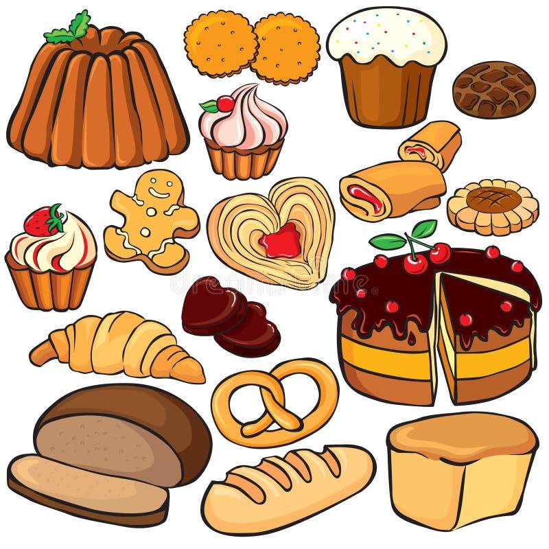 wypiekowej ikony ustaleni cukierki ilustracji