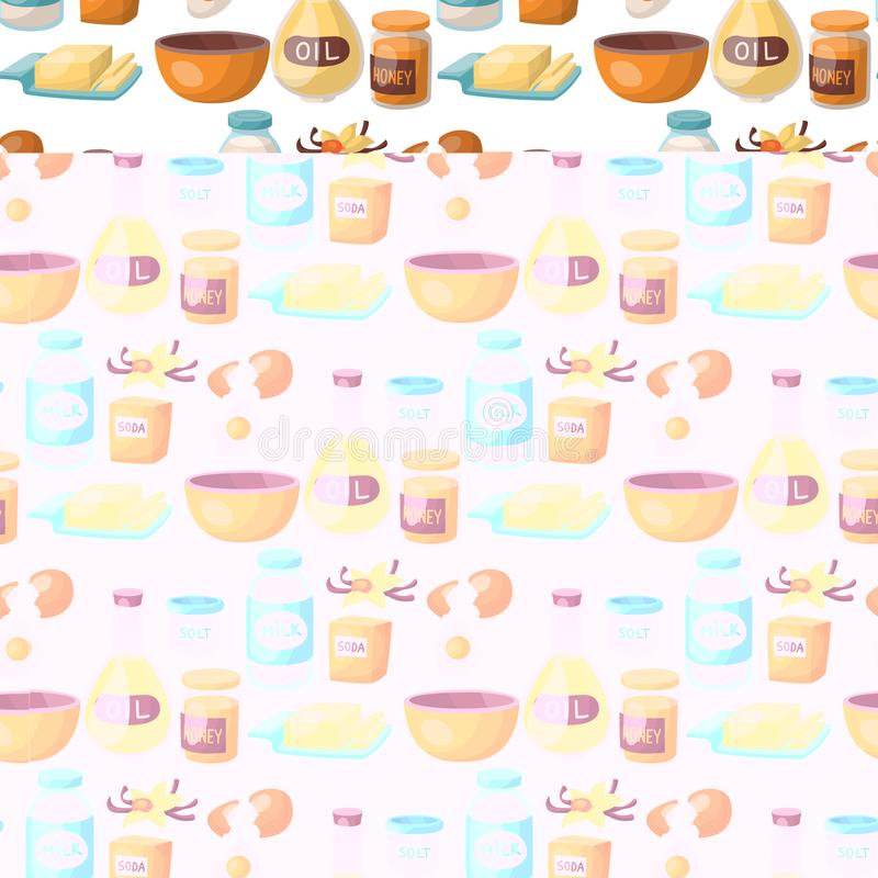 Wypiekowy ciasto przygotowywa kulinarnych składników kuchennych naczyń karmowego przygotowania domowej roboty piekarnianego bezsz royalty ilustracja
