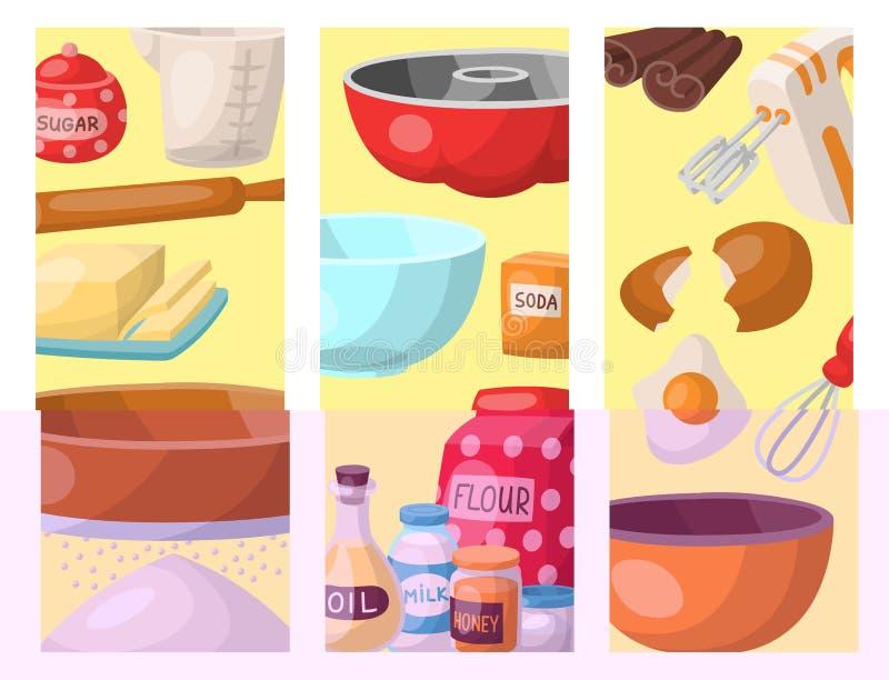 Wypiekowy ciasto przygotowywa kulinarnych składnik kart kuchennych naczyń karmowego przygotowania domowej roboty piekarnianą wekt ilustracja wektor