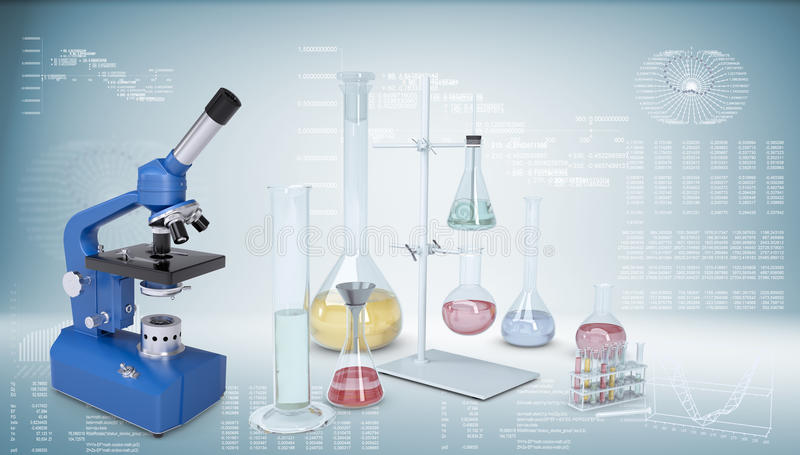 wyposażenia chemiczny laboratorium Mikroskop, kolby royalty ilustracja