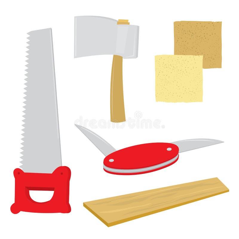 Wyposażenia narzędzie Handcraft Zobaczył deska szklaka cioski nożyka kreskówki wektor ilustracji