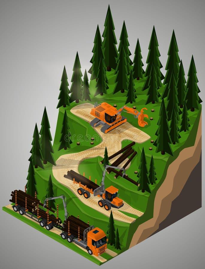 Wyposażenie dla leśnego przemysłu ilustracja wektor