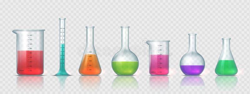 Wyposażenie laboratoryjne Realistyczne szklane lampy, kolba, zlewka oraz pozostałe urządzenia do pomiaru w laboratorium chemiczny royalty ilustracja