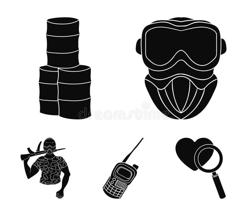 Wyposażenie, maska, baryłka, barykada Paintball ustalone inkasowe ikony w czerń stylu wektorowym symbolu zaopatrują ilustracyjną  ilustracji