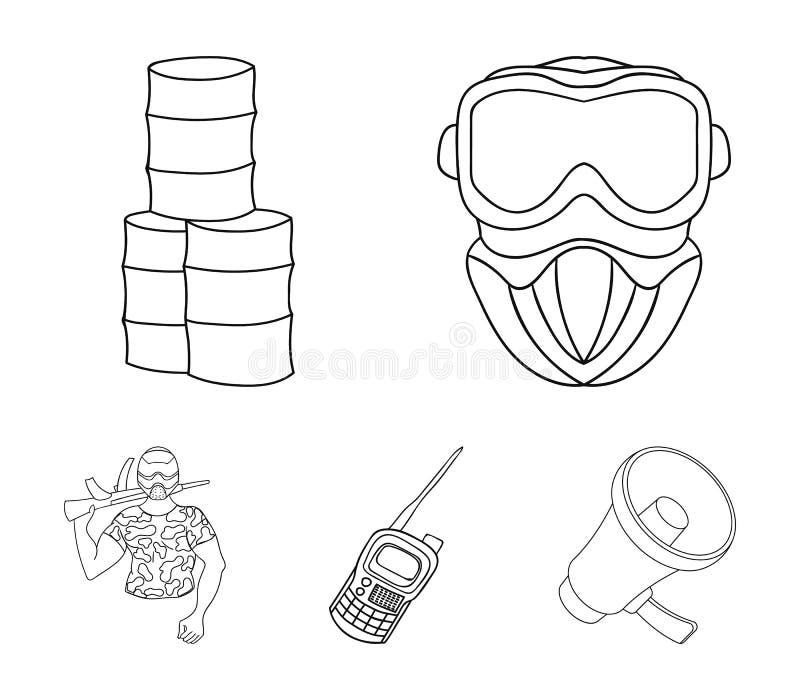 Wyposażenie, maska, baryłka, barykada Paintball ustalone inkasowe ikony w konturu stylu wektorowym symbolu zaopatrują ilustracyjn ilustracji