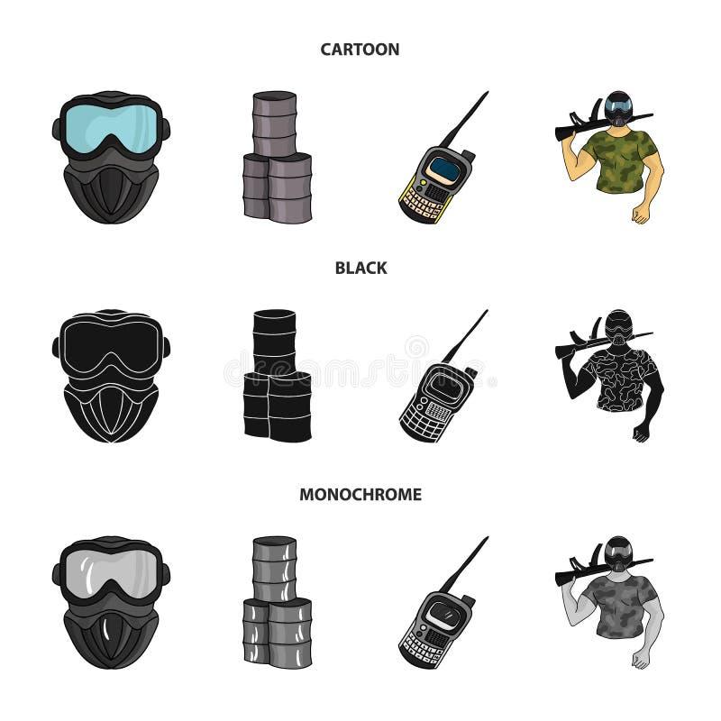 Wyposażenie, maska, baryłka, barykada Paintball ustalone inkasowe ikony w kreskówce, czerń, monochromu symbolu stylowy wektorowy  ilustracji