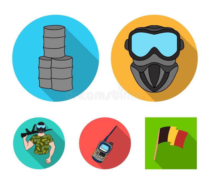 Wyposażenie, maska, baryłka, barykada Paintball ustalone inkasowe ikony w mieszkanie stylu wektorowym symbolu zaopatrują ilustrac ilustracji