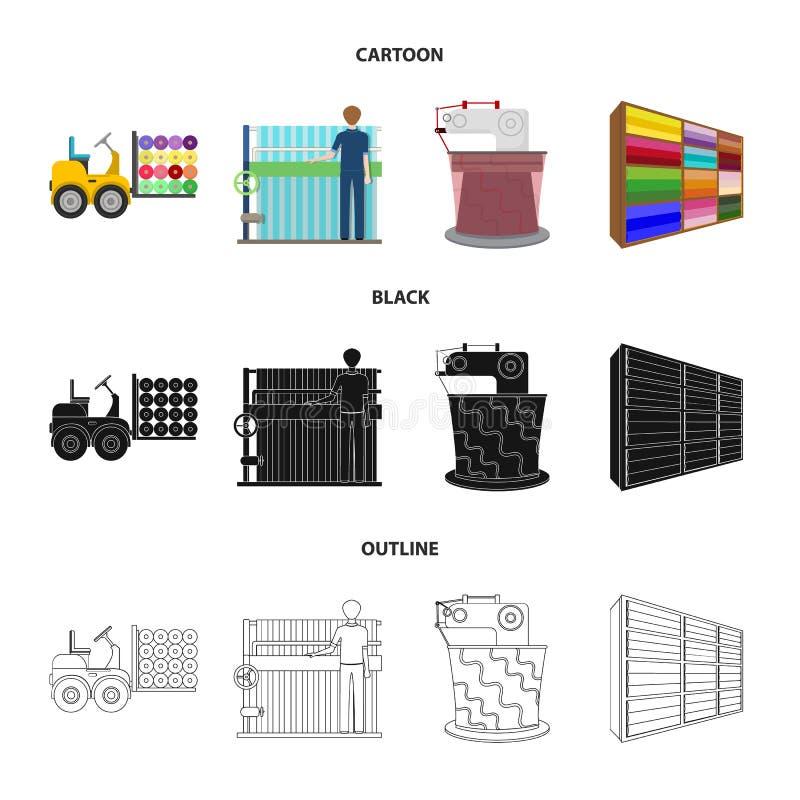 Wyposażenie, maszyna, forklift i inna sieci ikona w kreskówce, czerń, konturu styl Tkaniny, przemysł, tkanka, ikony w secie royalty ilustracja