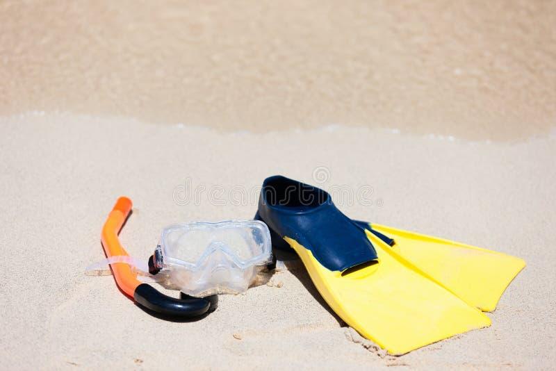 wyposażenie piasek snorkeling zdjęcia royalty free