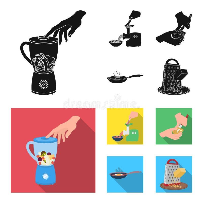 Wyposażenie, urządzenia, urządzenie i inna sieci ikona w czarnym, mieszkanie styl , kucharz, tutsi Kuchnia, ikony w ustalonej kol ilustracja wektor