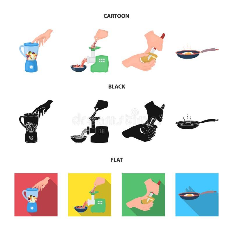 Wyposażenie, urządzenia, urządzenie i inna sieci ikona w kreskówce, czerń, mieszkanie styl , kucharz, tutsi Kuchnia, ikony w seci ilustracja wektor