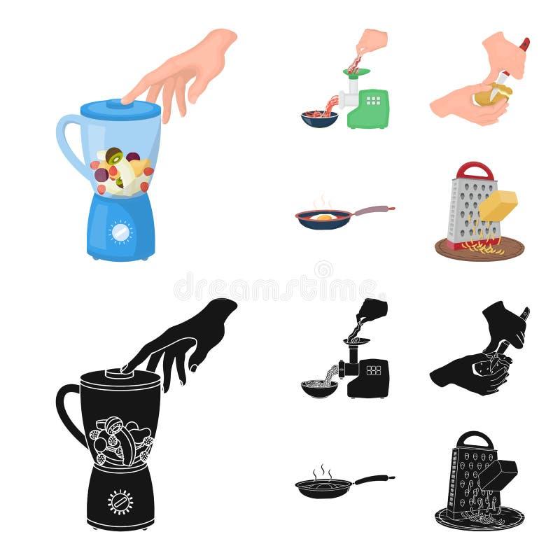 Wyposażenie, urządzenia, urządzenie i inna sieci ikona w kreskówce, czerń styl , kucharz, tutsi Kuchnia, ikony w secie ilustracji