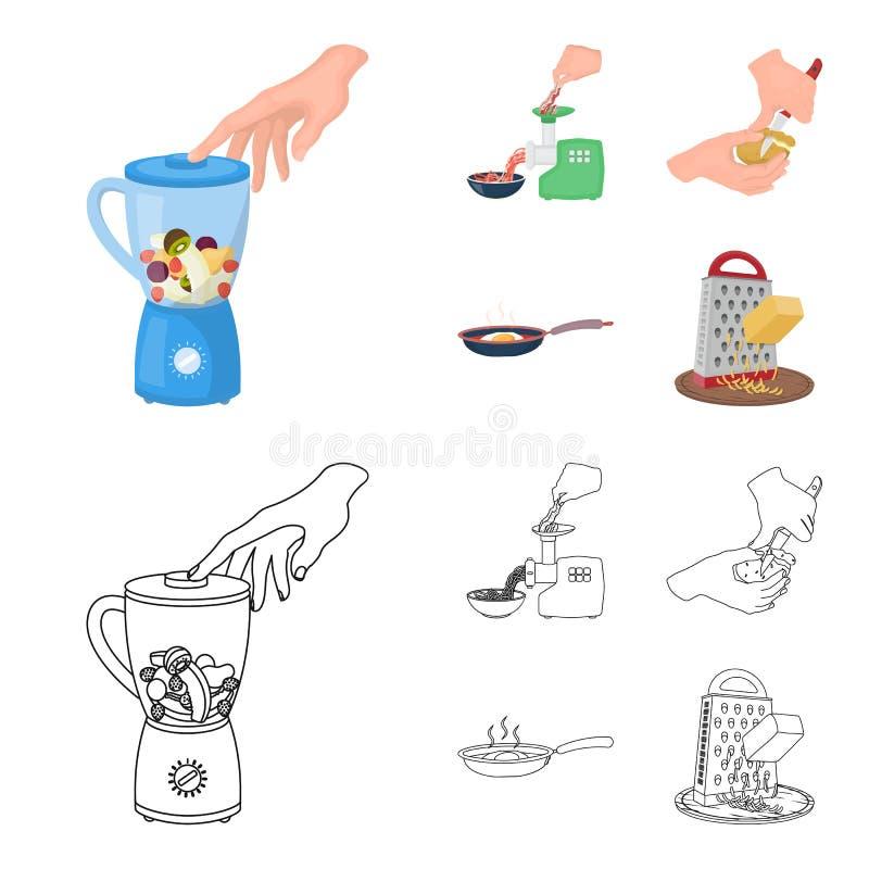 Wyposażenie, urządzenia, urządzenie i inna sieci ikona w kreskówce, konturu styl , kucharz, tutsi Kuchnia, ikony w secie ilustracji