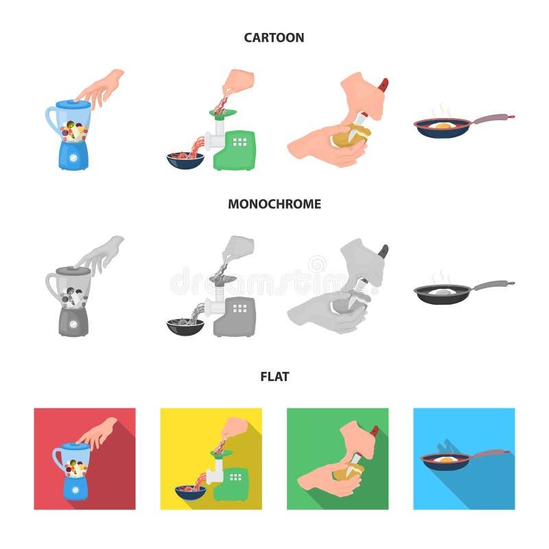 Wyposażenie, urządzenia, urządzenie i inna sieci ikona w kreskówce, mieszkanie, monochromu styl , kucharz, tutsi Kuchnia, ikony w royalty ilustracja