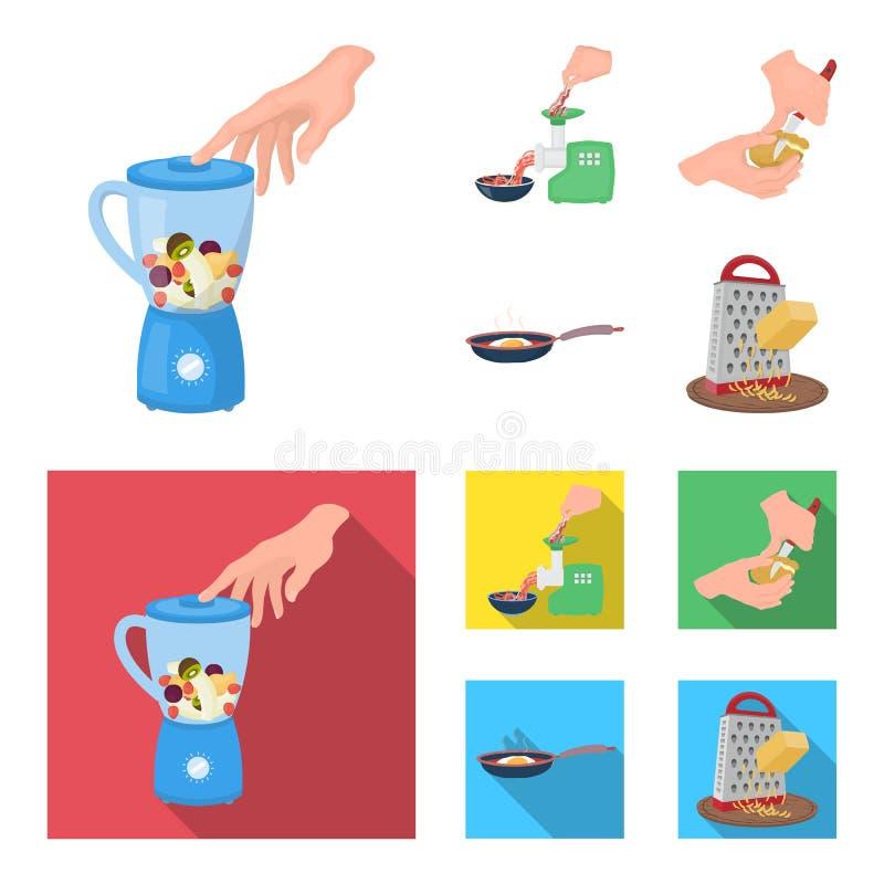 Wyposażenie, urządzenia, urządzenie i inna sieci ikona w kreskówce, mieszkanie styl , kucharz, tutsi Kuchnia, ikony w secie ilustracji