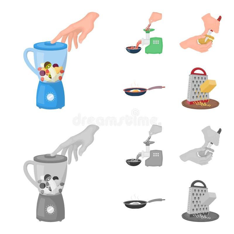 Wyposażenie, urządzenia, urządzenie i inna sieci ikona w kreskówce, monochromu styl , kucharz, tutsi Kuchnia, ikony w secie royalty ilustracja